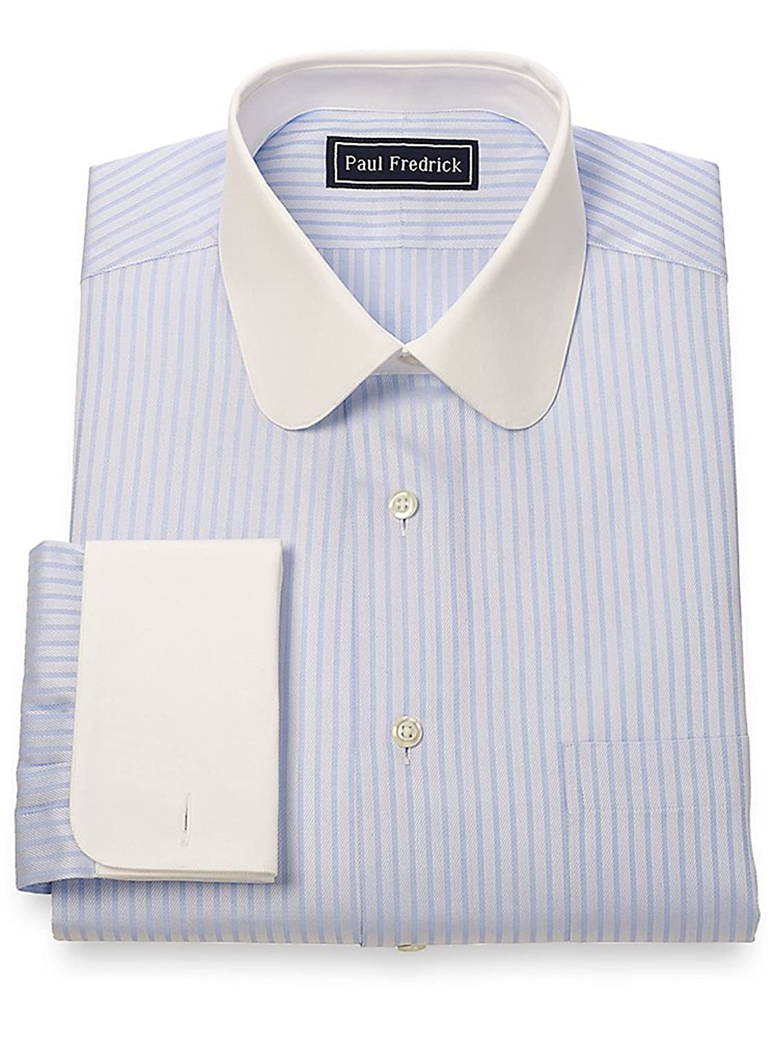 DressinGreatGatsbyClothesforMen Cotton Club Collar French Cuff Dress Shirt $64.95 AT vintagedancer.com