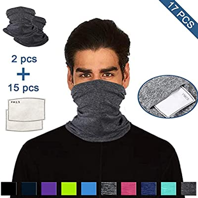 Outdoor Essential Face Cover,KMG Multifunctional Head Scarf Neck Cover With Separate Cotton Cloth Washable Face Cover(Gray,2PC): Toys & Games