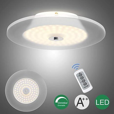 LED Lámpara de techo, 18W Lámpara de techo Iluminación de techo para oficina 3000K, Lámpara Salón Dormitorio, Focos de techo, con mando a ...
