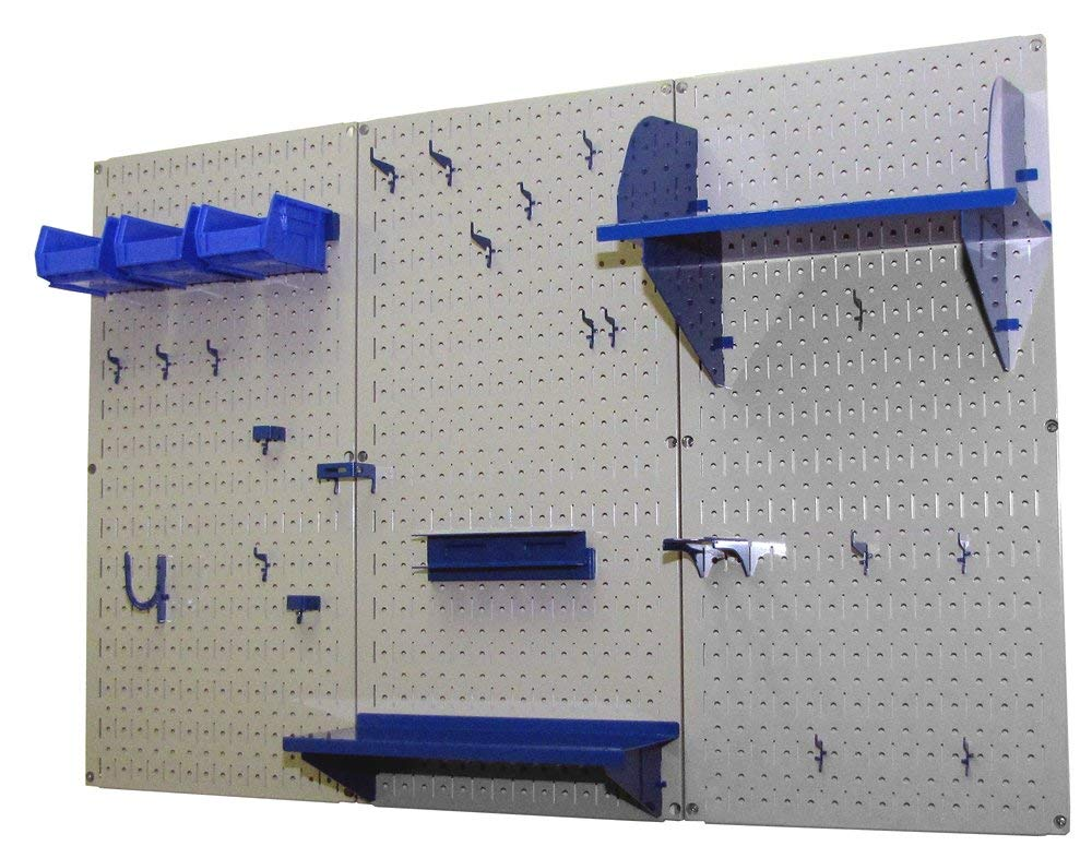 Pegboard Organizer Wall Control 4 ft. Metal Pegboard Standard Tool Storage Kit with Gray Toolboard and Blue Accessories by Wall Control