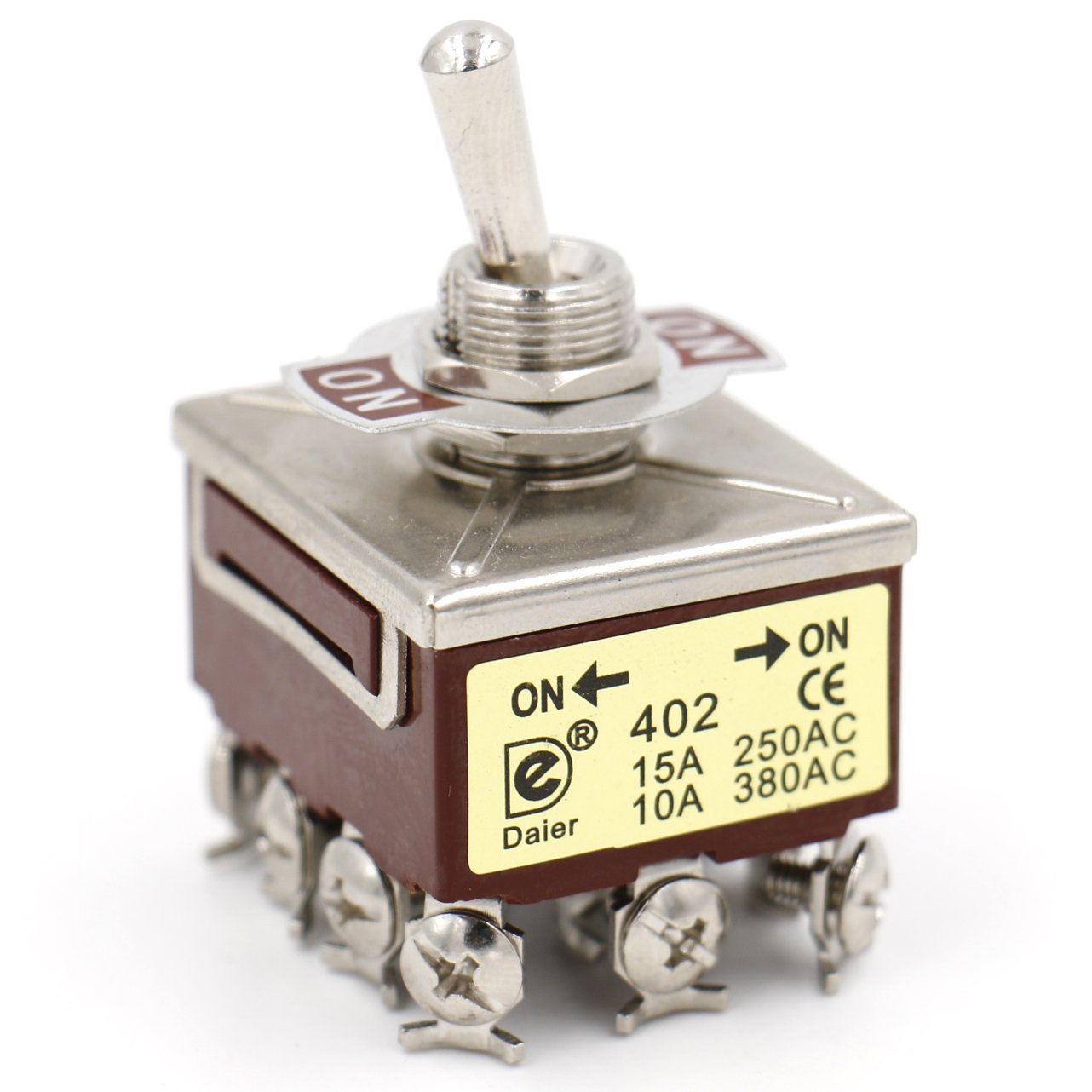 Heschen metal toggle switch 4PDT maintained ON/ON 2 position 15A 250VAC 10A 380VAC CE Heschen Electric Co.Ltd