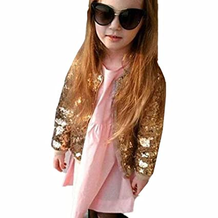 e3b8371a8 GBSELL Kids Baby Infant Girls Fashion Sequins Winter Warm Coat Jacket  Clothes (Gold, 2T