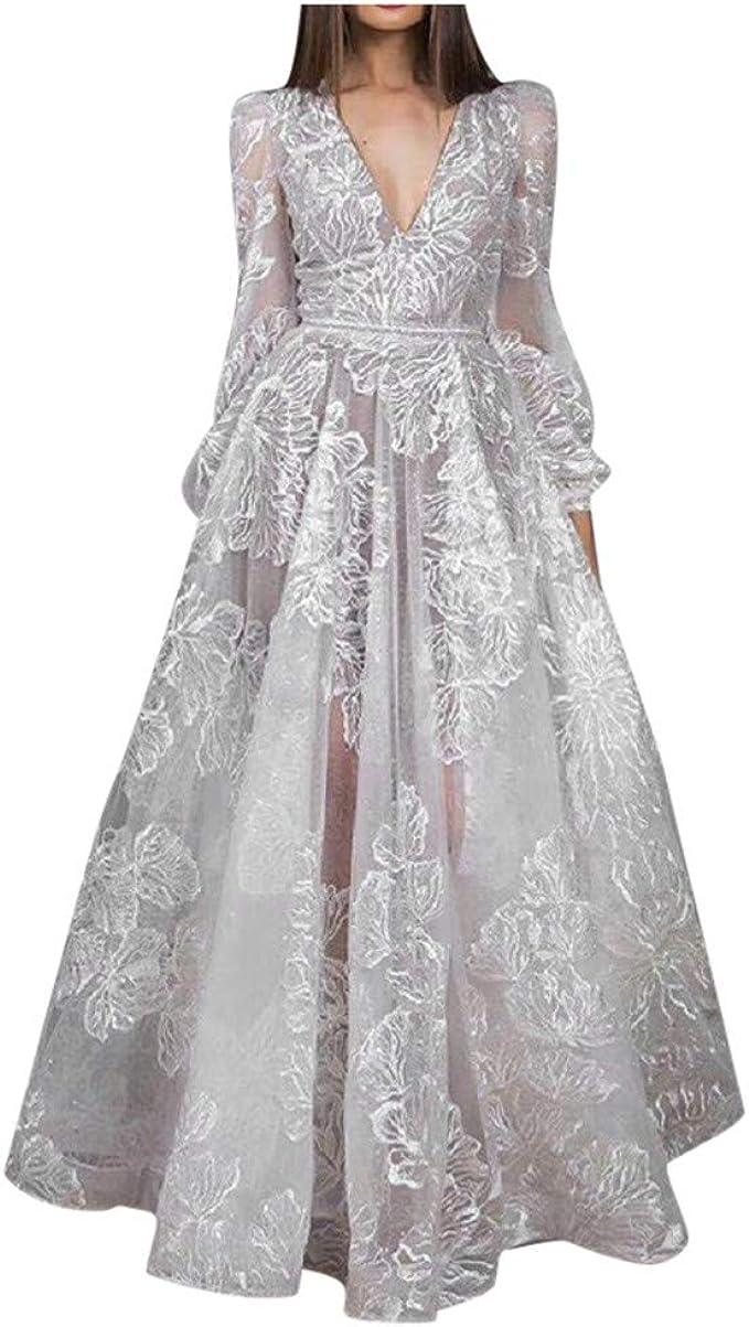 JXQ-N Damen Sexy Bestickt V-Ausschnitt Abendkleider Ballkleid