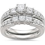 1 1/2 cttw, 14k White Gold Princess-cut & Round Diamond Engagement Bridal Set Wedding Ring (1 1/2 cttw, H-I, I1-I2) | Real Di