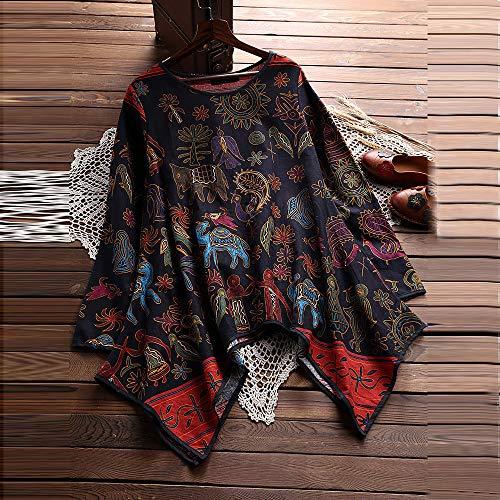 Fathoit Lin Casual Femmes Tops Marine Chemise en Et Tunique en Floral Coton T Vrac Shirt Chic imprim ImprimE Taille Femme Grande gqgXzwr
