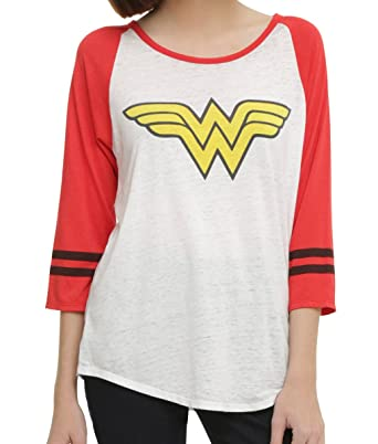 6566c6773de Amazon.com  Dc Comics Wonder Woman Burnout Juniors Raglan  Clothing