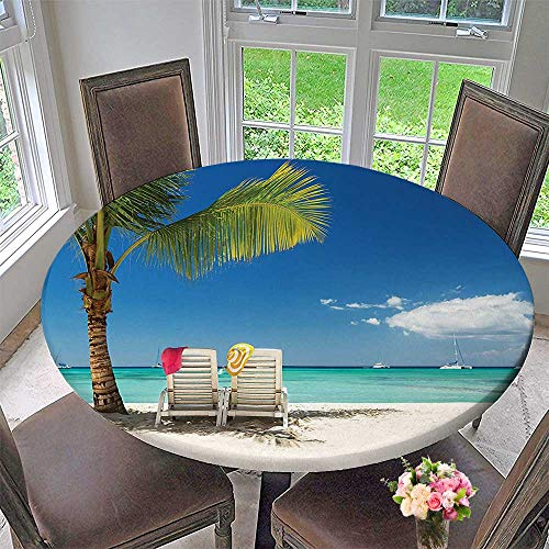 Mikihome Simple Modern Round Table Cloth Seaside Relaxing Scene On Remote with Chairs and Boats Panoramic Blue Green for Daily use, Wedding, Restaurant 31.5