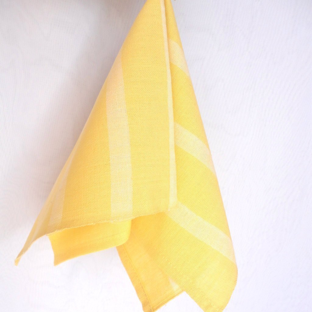 Handwoven Cloth Napkins Softly Muted Yellow Fair Trade set 4