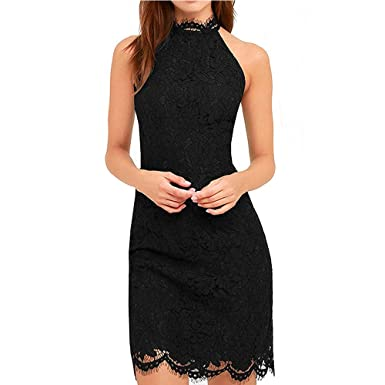 3f75a48a3a5 Weyarsu Women's Sleeveless High Neck Bodycon Cocktail Party Lace Mini Dress  at Amazon Women's Clothing store: