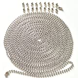 #4: Apowan Metal Pull Chain,3.2 mm Diameter Beaded Fan Extension Chain, Ceiling Fan Pull Chain,20 Feet Roller Chain with 20 Matching Connectors