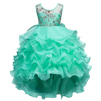 Big Girls Kids Chiffon Floral Lace High-Low Flower Girl Dress Dance Prom Party Gown