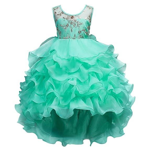 2dc388c7ccde Kids Big Girls Bridesmaid Embroidery Hi-Lo Tulle Elegant Flower Girl ...