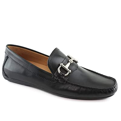 Driver Club USA Mens Genuine Leather Made in Brazil Park Ave Buckle Loafer, black nappa 9.5 M US | Loafers & Slip-Ons