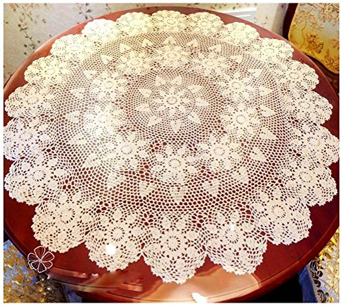 WCHUANG Vintage Hand Crocheted Doilies Round Lace Tea Sofa Cover Placemats Beige CottonTablecloths (31.5