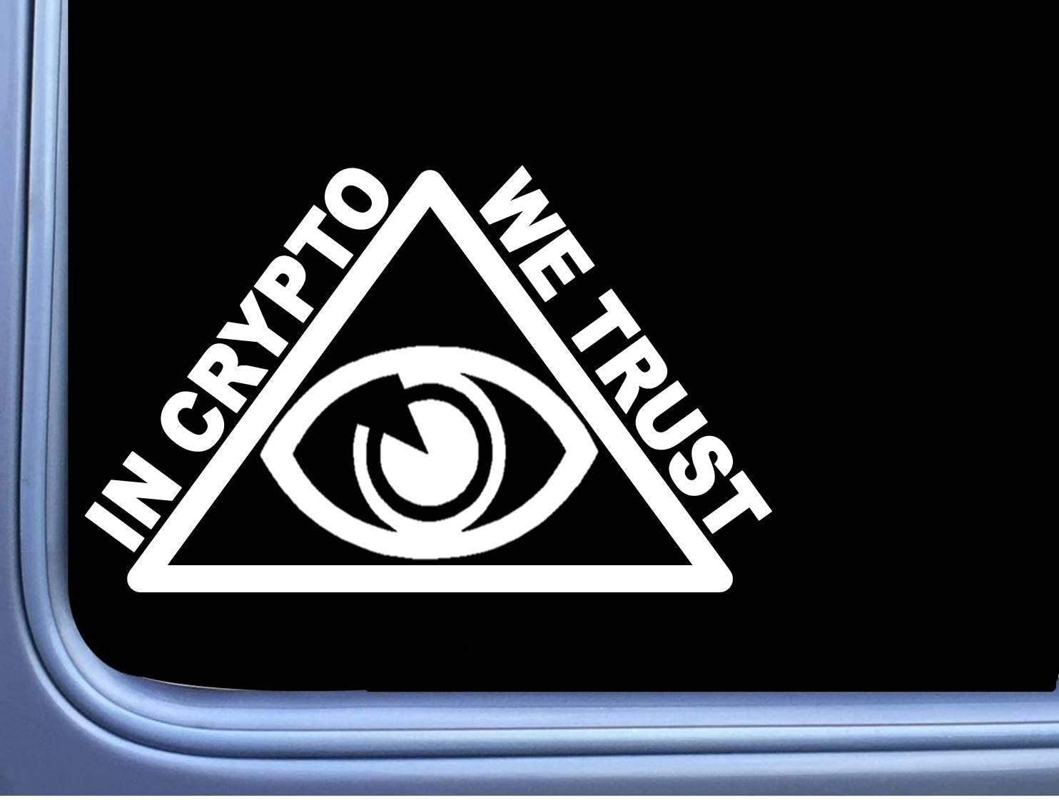 in Crypto We Trust Pyramid Sticker,Vinyl Car Window Decals for Laptop,Quote Funny Decal Computer Water Bottle Door Stickers Wall Art