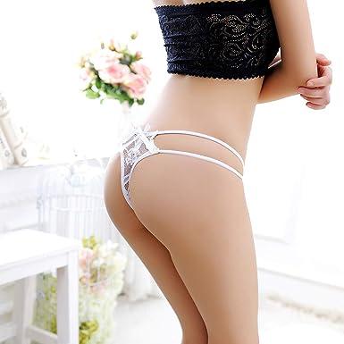 a4510f52be ManxiVoo Women s Lace Thongs Bikini Panties Sexy Lingerie G-String Underwear  Cheeky Briefs (Free Size