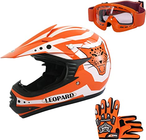 Leopard Leo X17 Kinder Motocross Mx Helm Motorradhelm Handschuhe Brille Orange M 51 52cm Ece Genehmigt Crosshelm Kinderquad Off Road Enduro Sport Auto