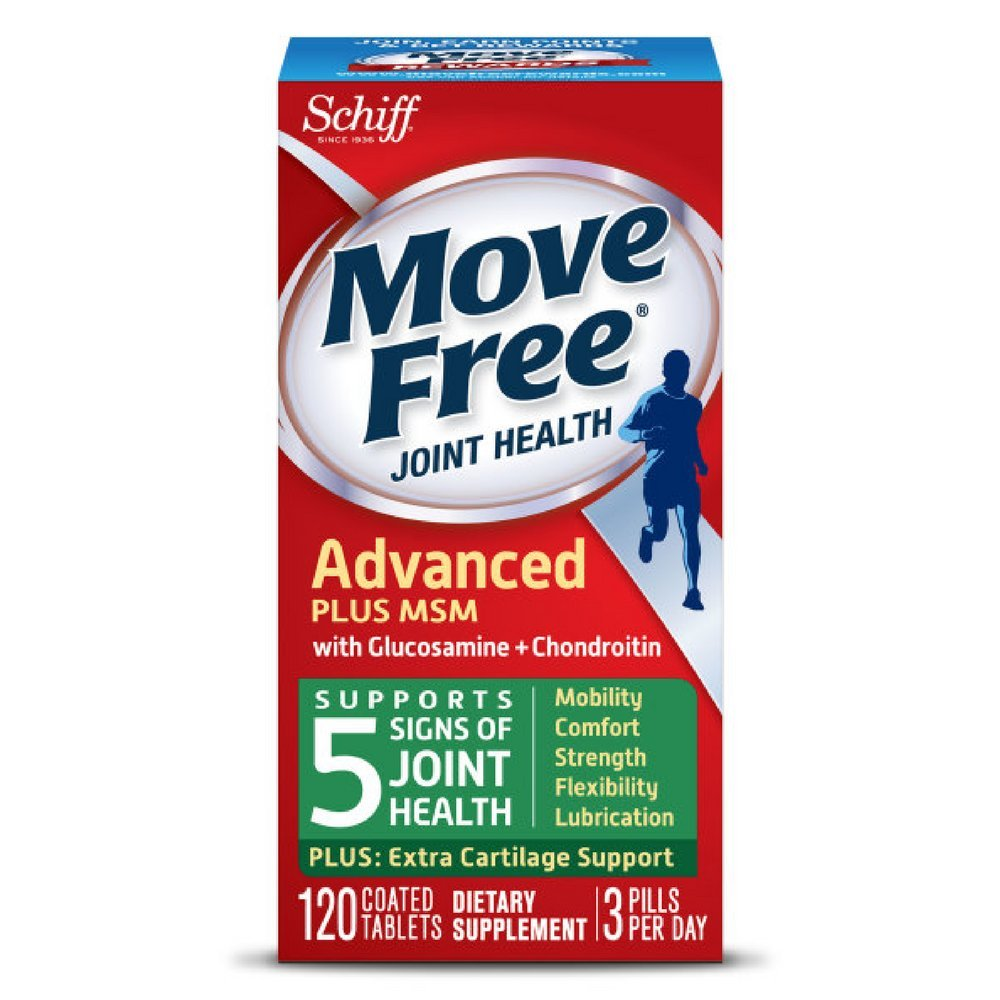 Move Free Advanced Plus MSM, 120 tablets - Joint Health Supplement with Glucosamine and Chondroitin (Pack of 8)