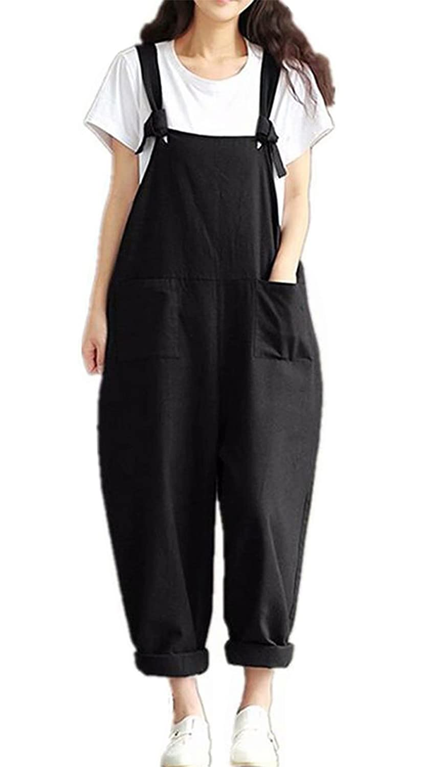 103a84b19ba Amazon.com  MNLYBABY Womens Casual Loose Bib Baggy Overalls Jumpsuit Pants  Plus Size Sleeveless Wide Leg Romper  Clothing