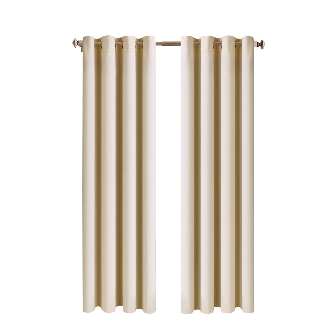 MEROUS Solid Blackout Curtain Thermal Insulated Window Treatments/Drapes with Grommet for Bedroom and Living Room(2 Panels, 52 * 63 inch, Beige)
