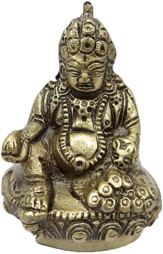 アンティーク真鍮彫刻ハンドメイドHindu Deity KuberゴールデンメタルFigurineインド