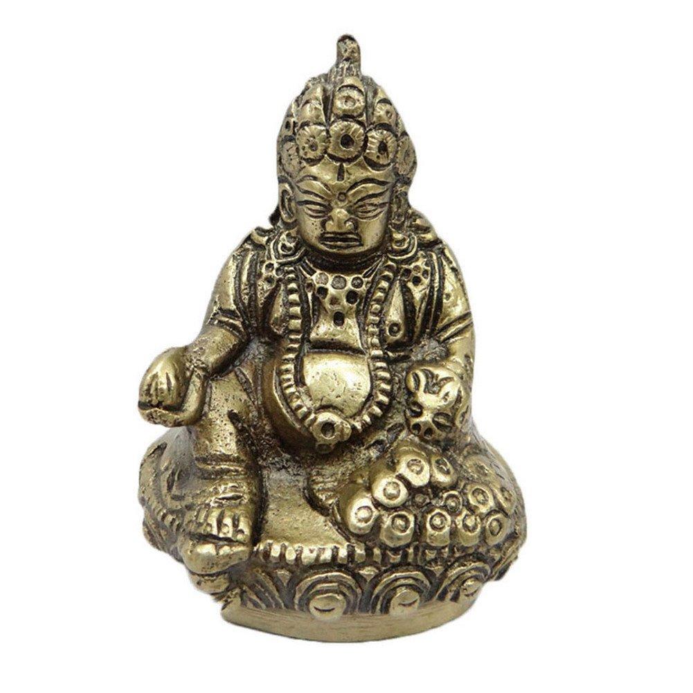 アンティーク真鍮彫刻ハンドメイドHindu Deity KuberゴールデンメタルFigurineインド B071VG4CJJ