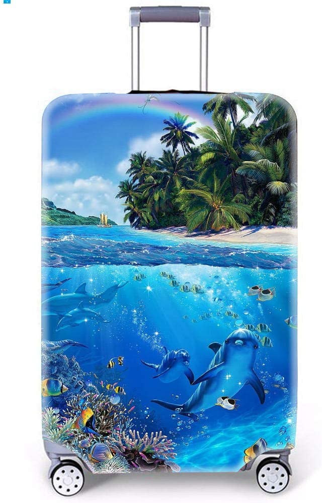 Sea Animals Pattern Suitcase Cover Funda de Equipaje por MukMok (Sin Maleta)-Arco Iris s (Equipaje de 18