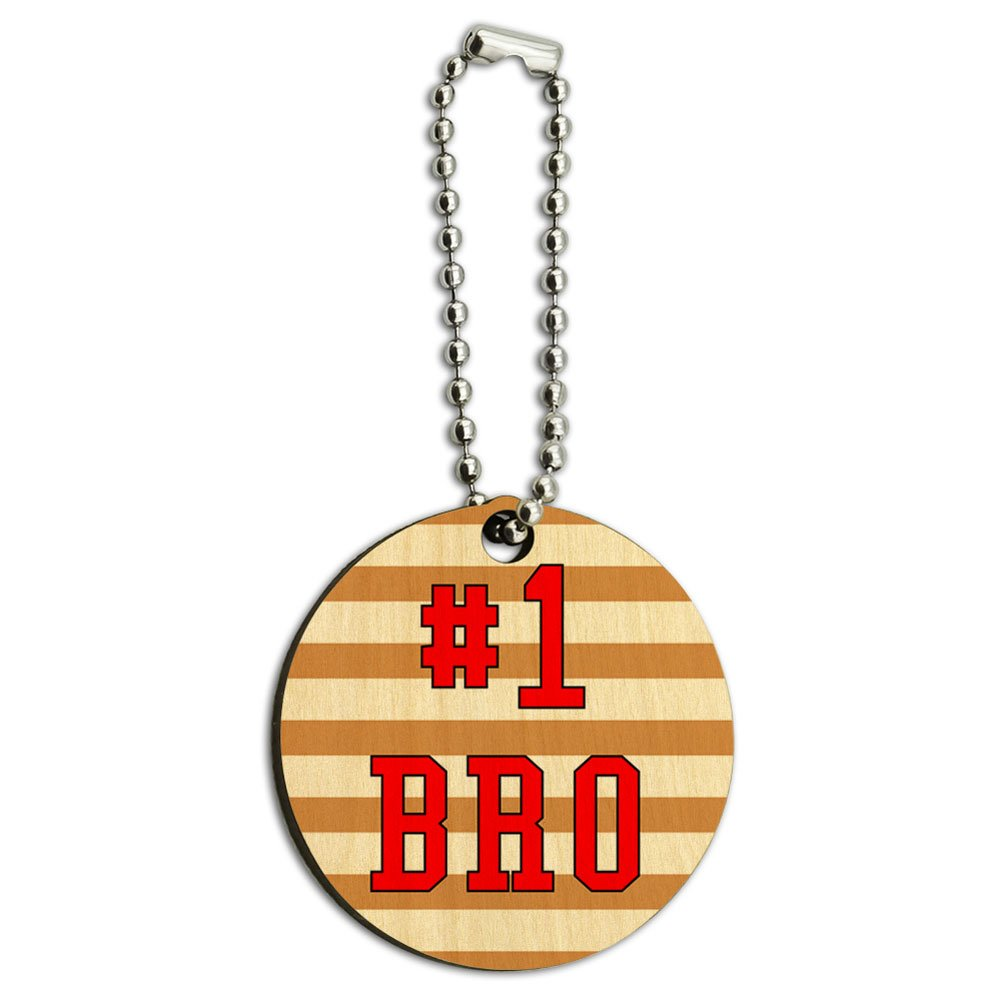 #1 Bro Number One Favorite Brother Sibling Wood Wooden Round Key Chain