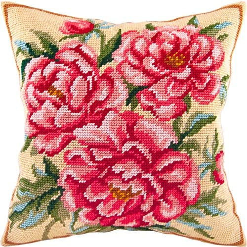 European Quality Needlepoint Kit Peony Printed Tapestry Canvas Throw Pillow 16/×16 Inches