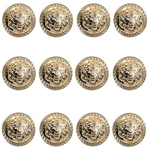 12 Pieces Vintage Antique Metal Blazer Button Set - 3D Lion Head - for Blazer, Suits, Sport Coat, Uniform, Jacket (Gold 23mm) ()
