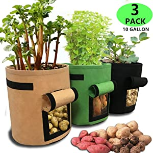 HFZXM Gallon Garden Boxes Potato Planting Bags for Tomato and Other Vegetables 3Pack