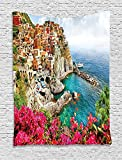 asddcdfdd Italy Tapestry, Monarola Antique Village in Cinque Terre Coastal Panorama Summer Beach Scenic View, Wall Hanging for Bedroom Living Room Dorm, 60 W X 80 L Inches, Multicolor