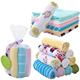 NUOLUX 8pcs Soft Cotton Newborn Baby Face Towel and Muslin Washcloth Bath Shower Wipe (Random Color)