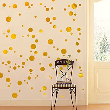 Amazoncom Glitter Metallic Gold Wall Decal Stickers  Decals - Nursery polka dot wall decals