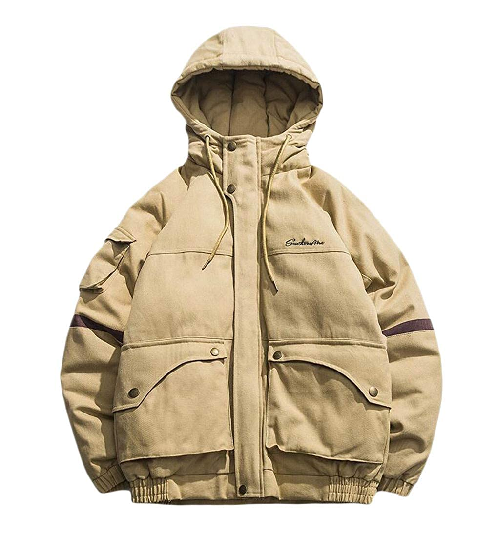 Sweatwater Mens Hooded Classic Cotton-Padded Loose Jacket Outerwear Parkas Coats