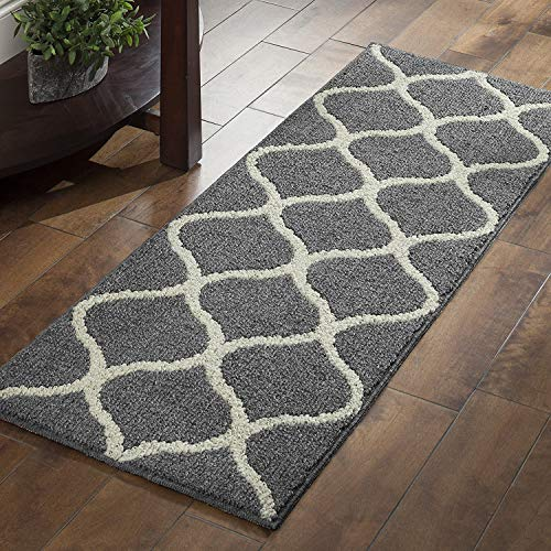 Maples Rugs Runner Rug - Rebecca 19 x 5 Non Skid Hallway Carpet Entry Rugs Runners [Made in USA] for Kitchen and Entryway, Grey/White