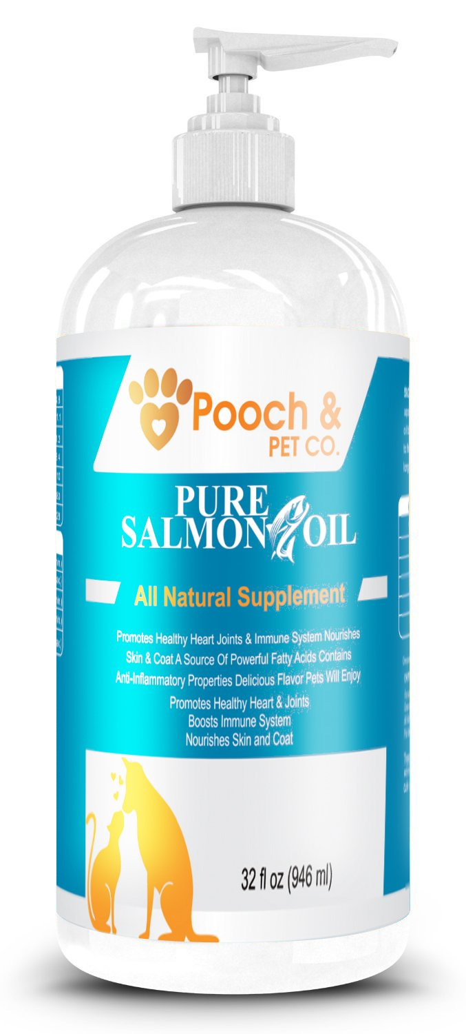 32 FL OZ- Organic Pure Wild Alaskan Salmon Oil for Dogs & Cats - Supports Joint Function, Immune & Heart Health - Omega 3 Liquid Food Supplement - All Natural EPA + DHA Fatty Acids for Skin & Coat