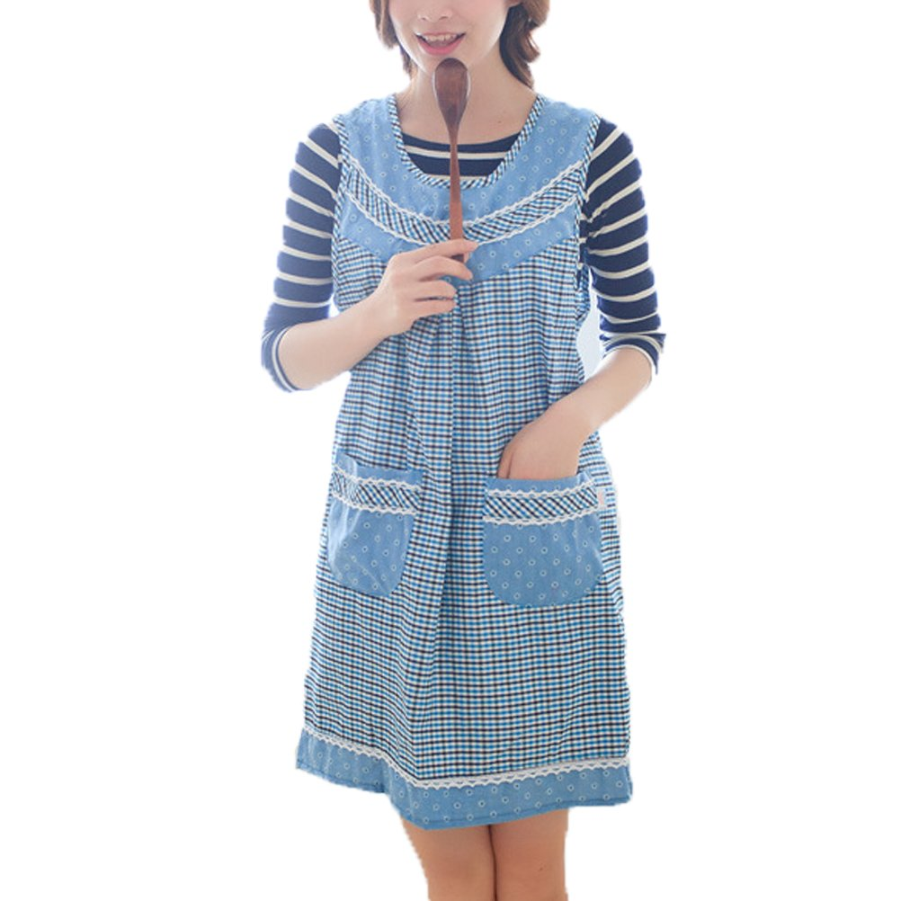 Nanxson(TM) adult bibs apron plaid design with pockets AL8048 sky by Nanxson
