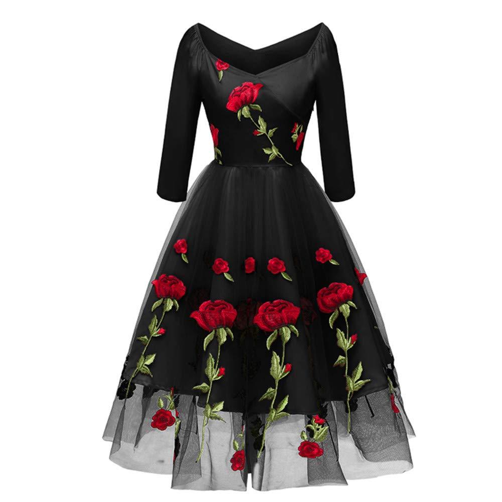 Btruely Kleid Damen Herbst Langarm Cocktailkleid Princess Swing Dress V-Ausschnitt Kleider Embroidery Partykleid Elegant Brautjungfernkleid Mode Kleid