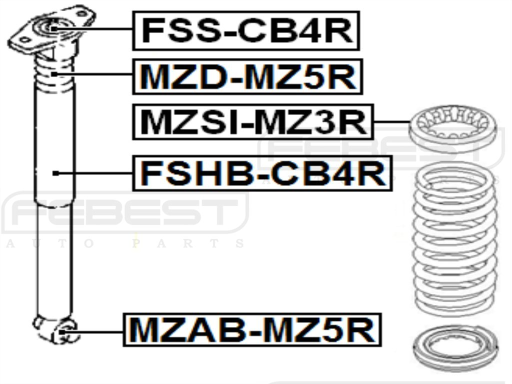 ARM BUSHING REAR SHOCK ABSORBER Febest MZAB-MZ5R