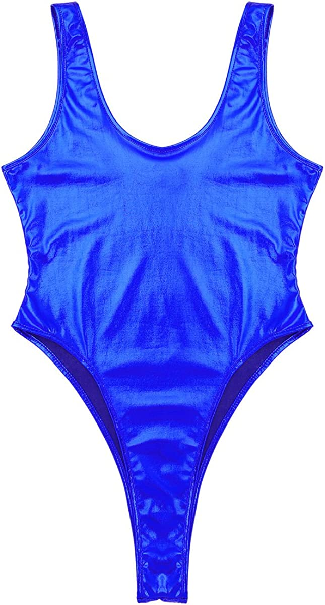 easyforever Womens Shiny Metallic Sleeveless Swimsuits High Cut Stretchy Bodysuit Bathing Suits