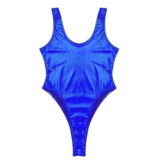 f678c8d0cdc7 inlzdz Mujer Traje de Baño de Cuero Bañador de Una Pieza Brillante Sexy  Bikini Push Up Bodysuit Corte Alto Tankini Bañador de Natación: Amazon.es:  Ropa y ...