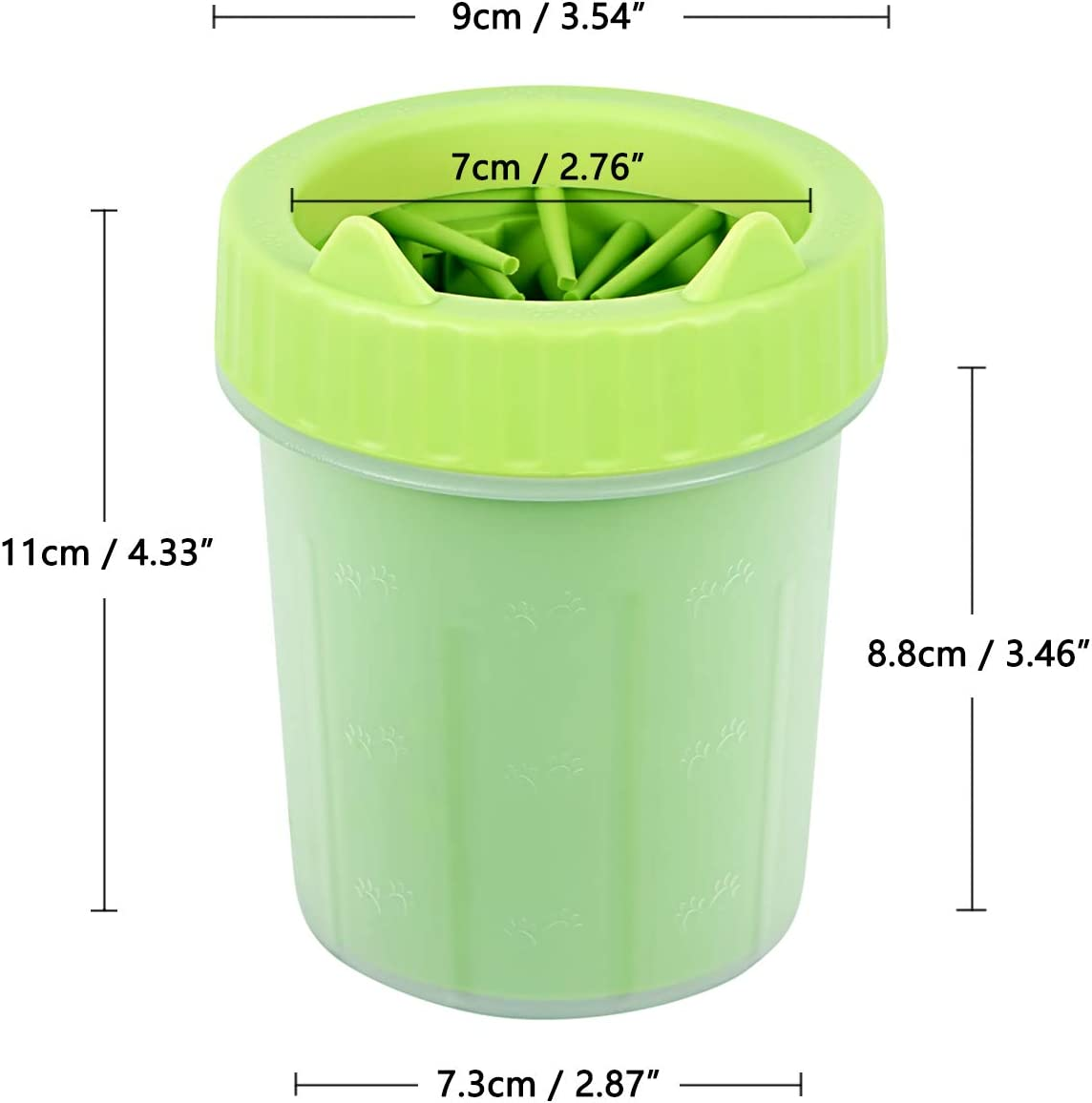 Green, Small VRAN Dog Paw Cleaner Portable Pet Paw Washing Cup Dog Foot Cleaning Brush Cup Pet Paw Washer with Soft Silicone Bristles for Removing Dirt and Mud