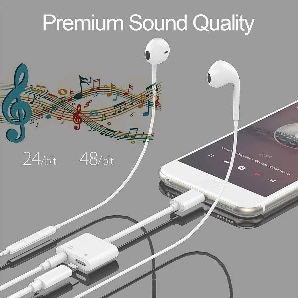 Adaptador de Auriculares para iPhone Auricular Jack de 3,5 mm Cable AUX Adaptador de Audio Dongle de Auricular Convertidor de Cable Accesorios Splitter para iPhone X//XS//XS MAX//XR//7//7Plus//8//8Plus