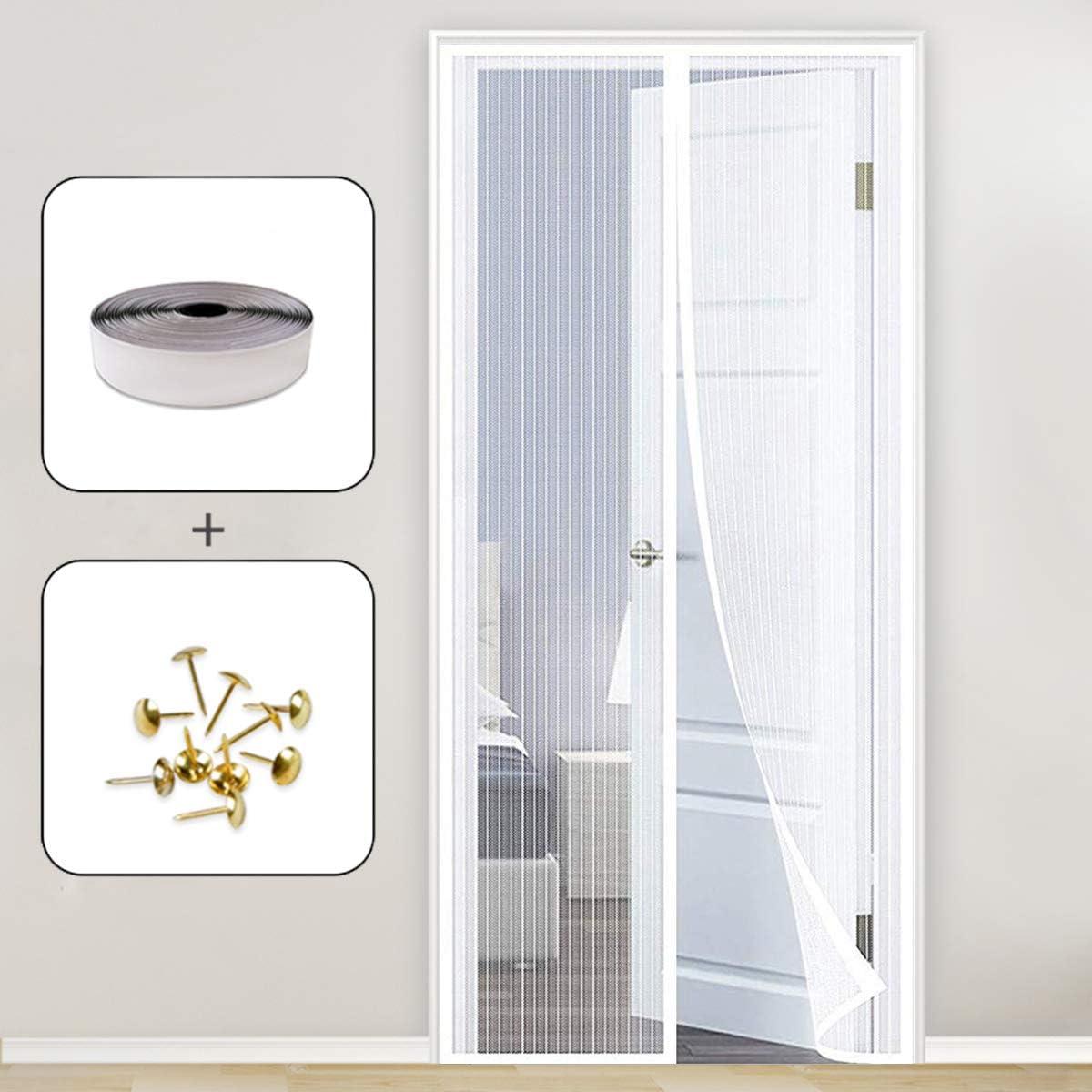 GOUDU Mosquitera Puerta Magnetica, 70x200cm Cortina Puerta Exterior Magnética Automático con Durable para Puertas Correderas/Balcones/Terraza, Blanco A