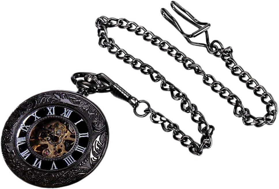 Hombres Relojes de Bolsillo Esqueletíco Steampunk Reloj Portátil con Cuerda Manual