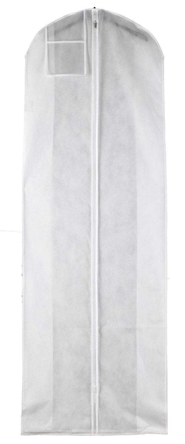White Breathable Wedding Dress Gown Garment Bag - Extra Long with 10 ...