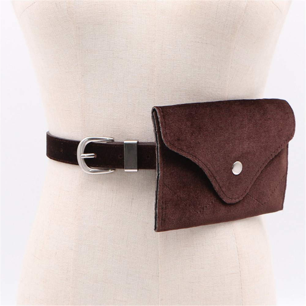 Ruhiku GW Fanny Packs for Women Fashion Velvet Waist Purse Cash Phone Bag with Removable Belt Waist Pouch