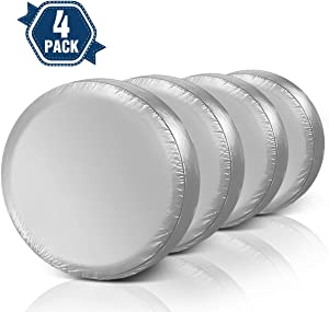 ELUTO Tire Covers for RV Wheel Set of 4 Motorhome Wheel Covers Waterproof Oxford Cotton Tire Protectors Tire Covers Fits 24'' to 27'' Tire Diameters