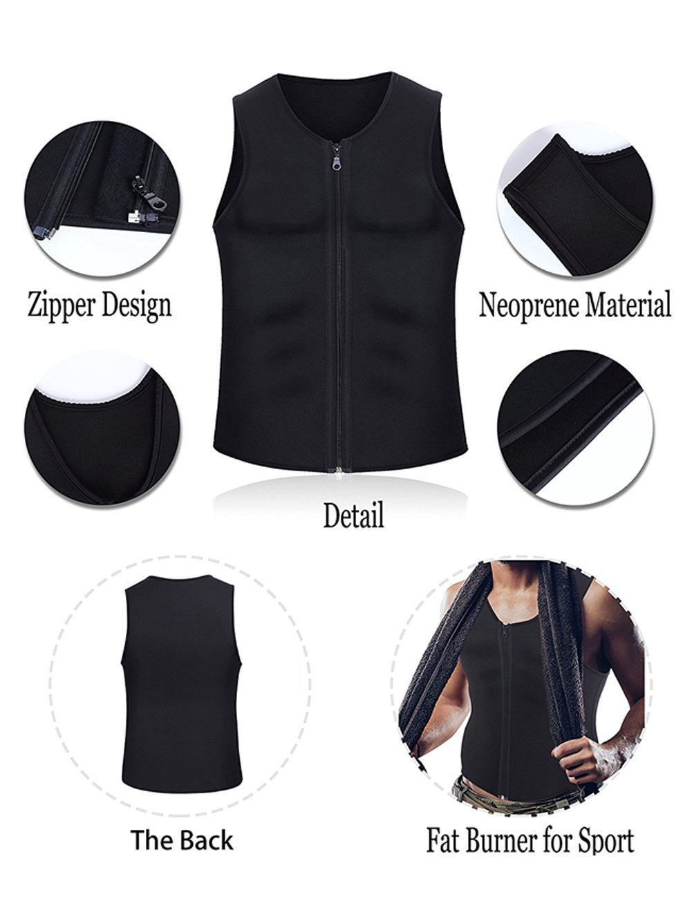 f58962bcbc HEYME Men s Slimming Vest Sauna Suits Gym Shirt Body Shaper for Body  Shaping Neoprene 4XL  Amazon.co.uk  Clothing